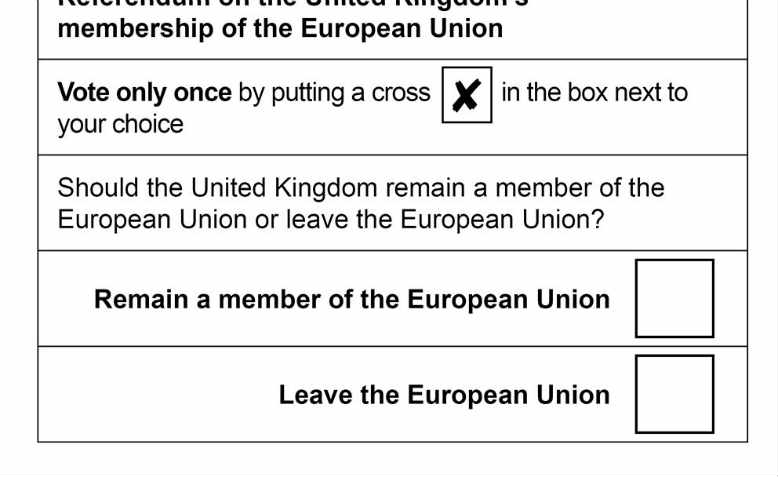 The 2016 EU referendum ballot paper