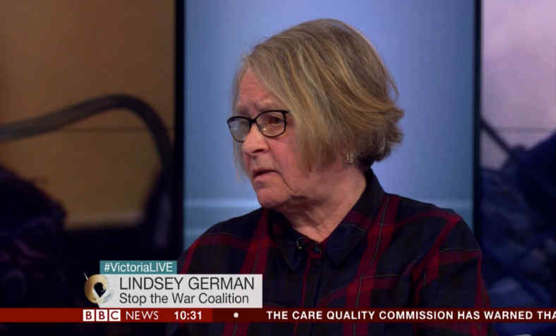 Lindsey German on BBC Victoria Derbyshire show. Photo: BBC