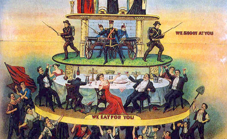 The Pyramid of Capitalist System produced by the Industrial Workers of the World (Wobblies) in 1911 (detail). Graphic: Wikimedia