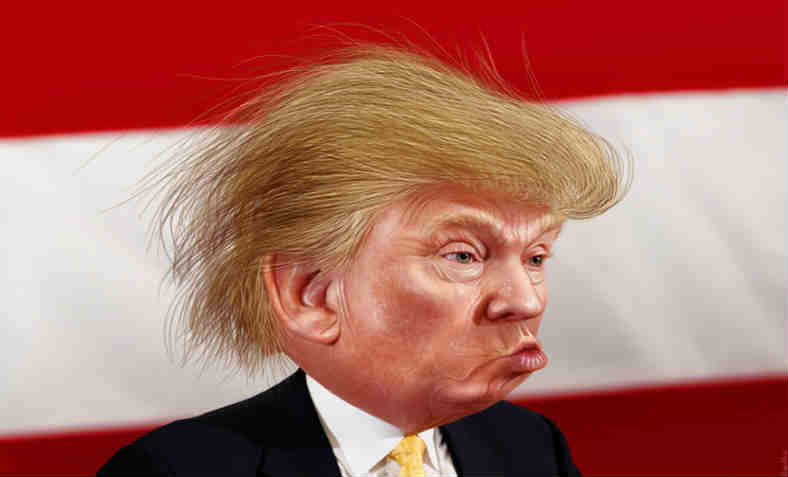 Caricature of Donald Trump. Photo: Michael Vadon