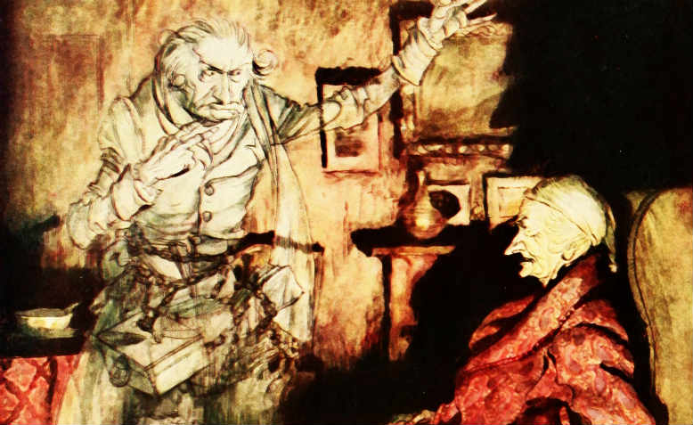 The ghost of Jacob Marley visiting Ebenezer Scrooge in A Christmas Carol by Charles Dickens.