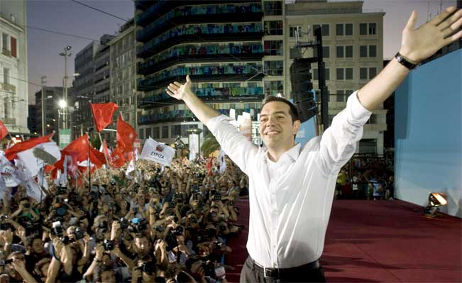 Syriza Party leader Alexis Tsipras at a party rally in Athens. Photo: Milos Bicanski Getty Images