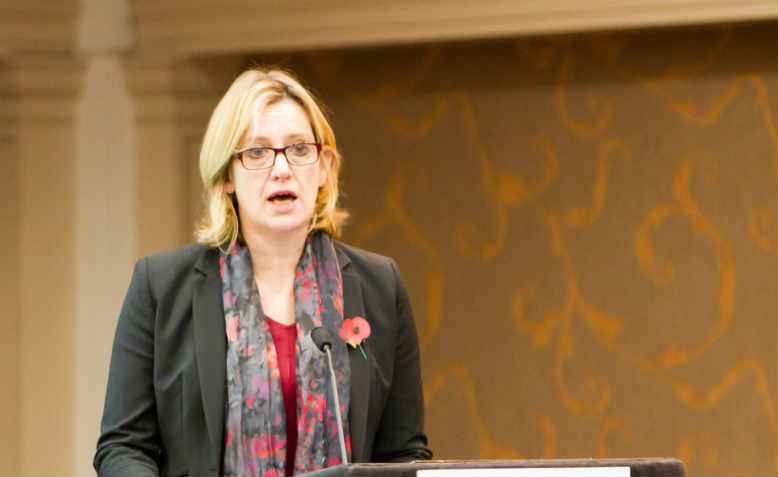 Amber Rudd addressing the Association for Decentralised Energy in 2014. Photo: Flickr/ADE