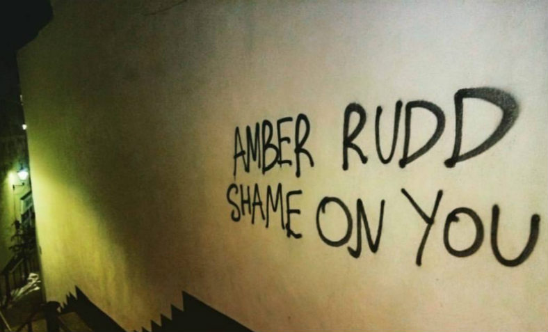Amber Rudd graffiti in Hastings. Photo: Chrissy Brand
