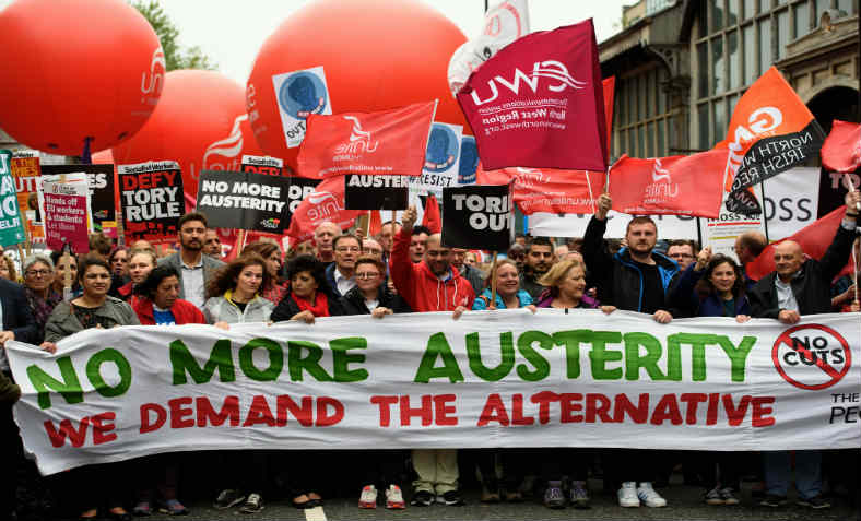 Anti-austerity protest in Manchester 2017. Photo: Jim Aindow