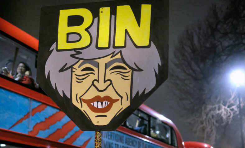 Bin Theresa May - placard from anti-Trump rally, Whitehall, January 2017