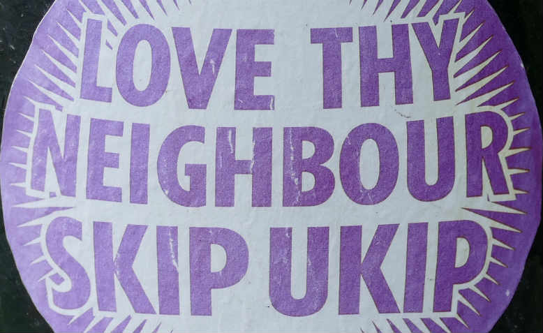 LOVE THY NEIGHBOUR SKIP UKIP anti-Ukip sticker, Cambridgeshire, 2015