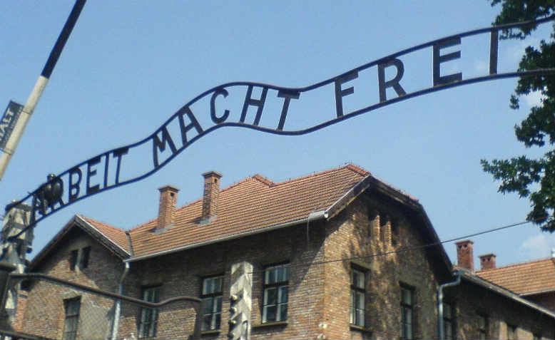 The entrance to Auschwitz concentration camp in 2006