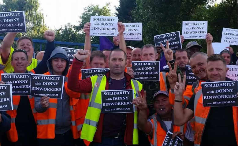 Unite Brummie bin workers still finding time to solidarise with colleagues in