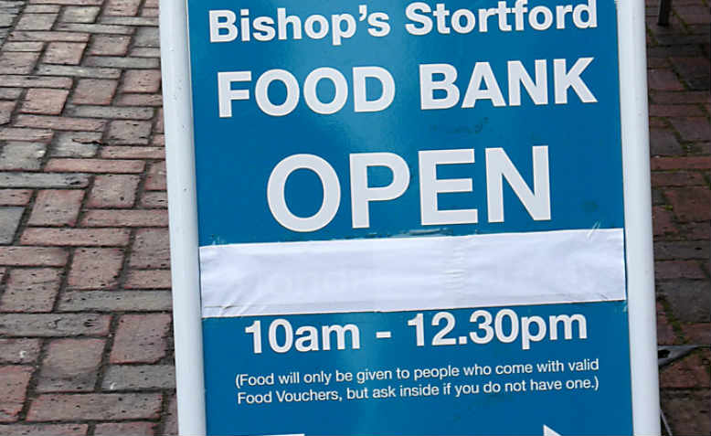 A notice for Bishop's Stortford Food Bank, 2016