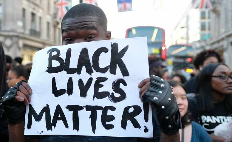 A Black Lives Matter protester in Westminster, 2016