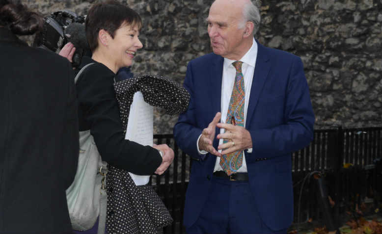 Caroline Lucas conferring with Vince Cable in 2017