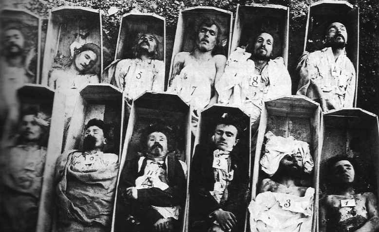 Parisian communards in their coffins, 1871
