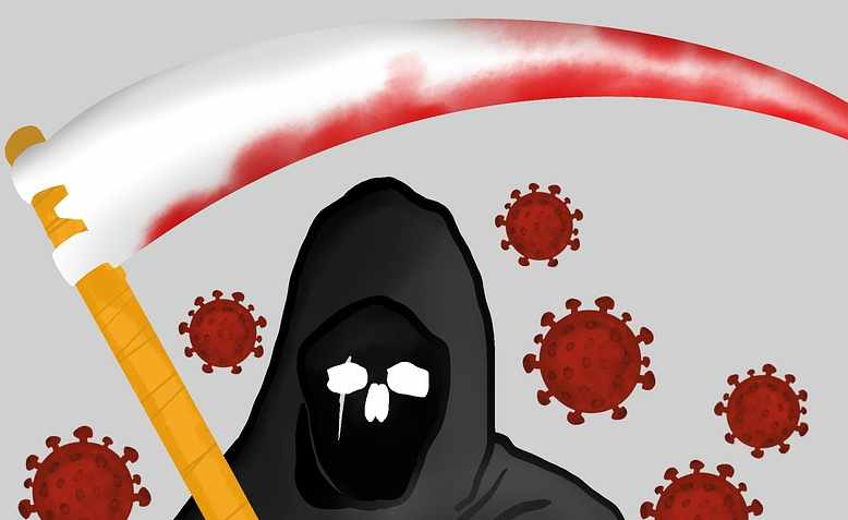 The reaper and the virus. Graphic: Pixabay/Pabitra Kaity