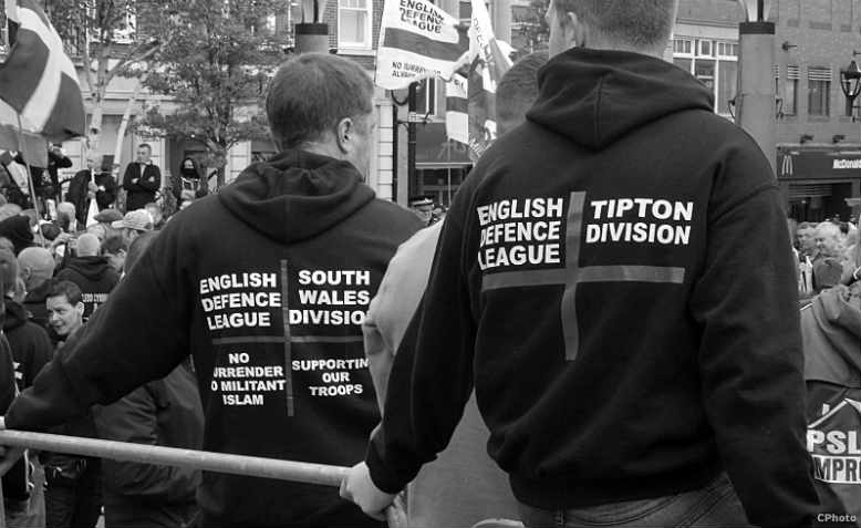 The now-defunct English Defence League on patrol in 2014