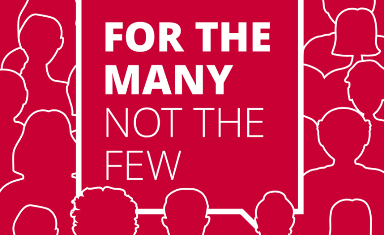 "The cover of Labour manifesto 2017 – ""For the many, not the few"". Graphic: Wikimedia"
