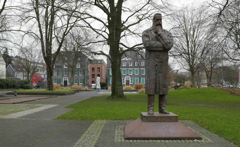A statue of Friedrich Engels in Wuppertal-Barmen Park, Germany