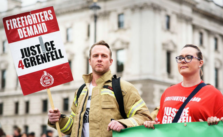Fire Brigade Union members at march for Grenfell Tower victims 15th June 2019. Photo: Orlando Hill
