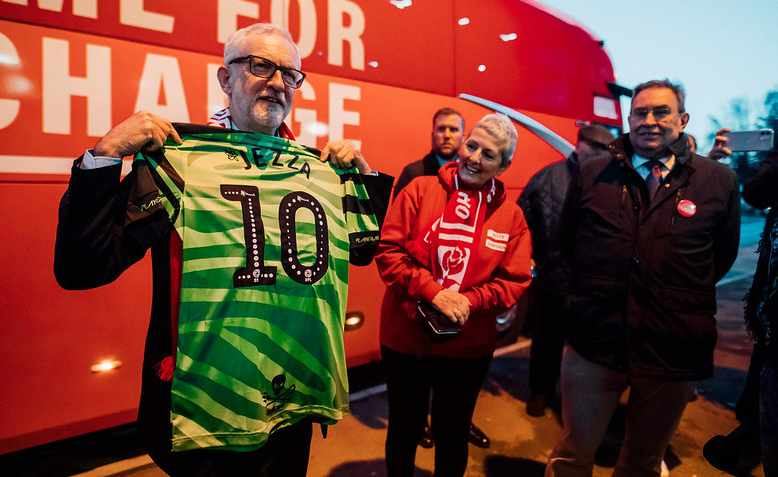 Jeremy Corbyn visiting Forest Green Rovers Football Club in 2019