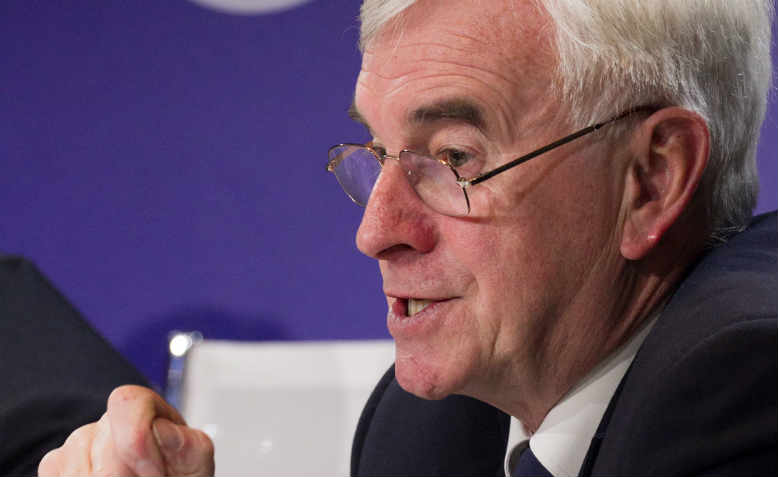 John McDonnell talking to capitalists at the World Economic Forum in Davos in 2018