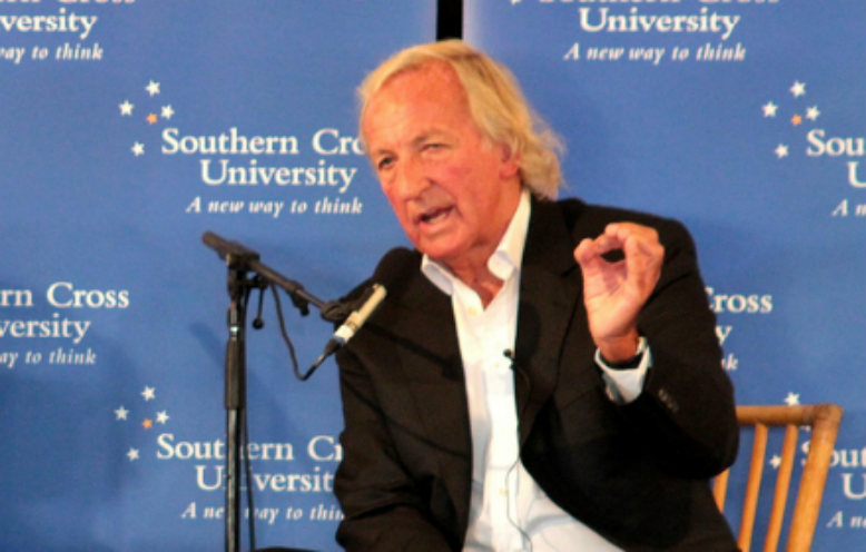 John Pilger speaking at Southern Cross University, August 2011. Photo: SCU media students via Flickr