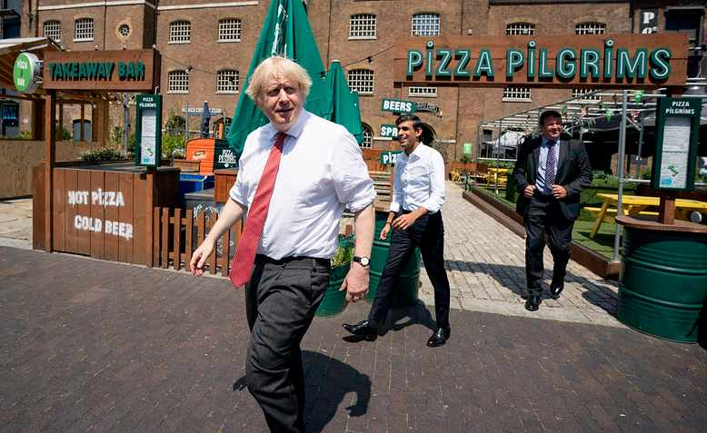 Boris Johnson and Rishi Sunak visit Pizza Pilgrims, June 2020