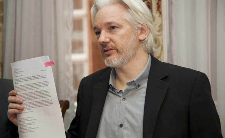 Julian Assange in London in 2014. Photo: Flickr/Cancillería del Ecuador