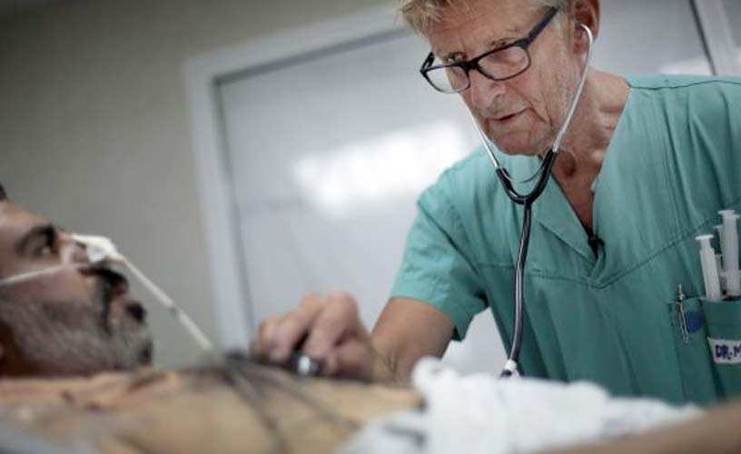 Mads Gilbert a Norwegian doctor who has volunteered at Shifa on and off for 17 years. Photo: AP Photo/Khalil Hamra
