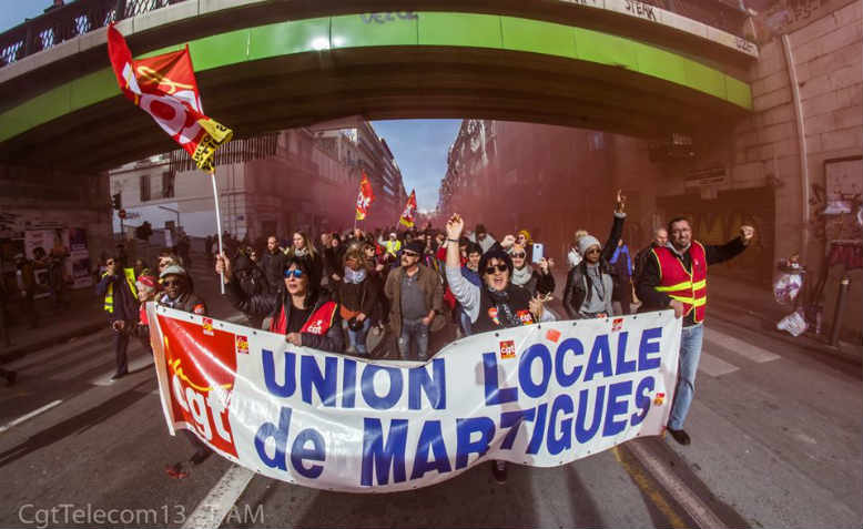 Strikers demonstrating in Marseille, January 2020. Photo: Facebook/Thierry Lerouge