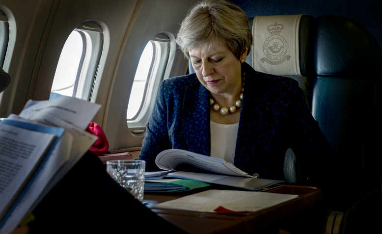 Theresa May in flight, February 2018
