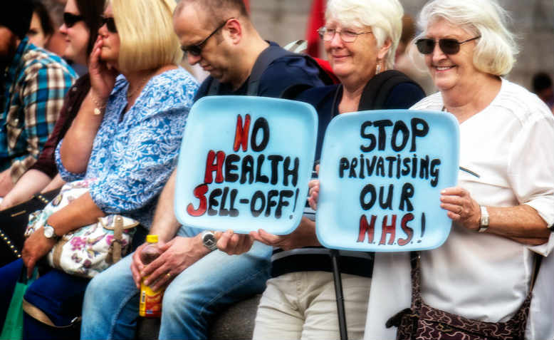 Activists protesting against health cuts in 2014, Trafalgar Square
