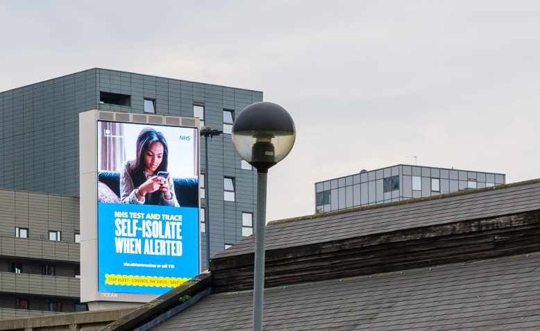 NHS test and trace billboard in East London, June 2020