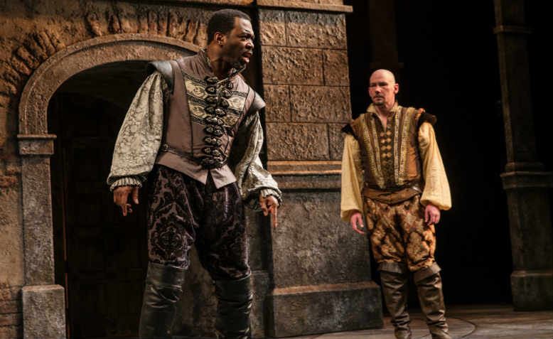 Daver Morrison as Othello and Gavin Hoffman as Iago in Portland Center Stage's Othello