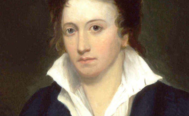 Detail from Alfred Clint's portrait of Percy Bysshe Shelley, 1819