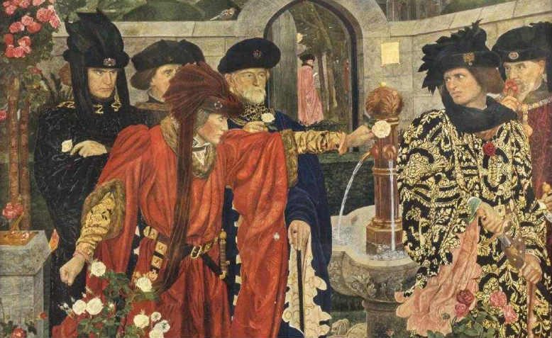 Detail from Plucking the Red and White Roses in the Old Temple Gardens (1908) by Henry Arthur Payne as depicted in Shakespeare's Henry Vi, Part I