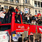 Students occupy a tour bus in Parliament Square, Friday 15 February 2019. Photo: Shabbir Lakha
