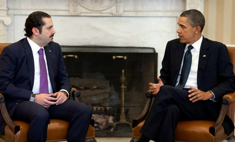 Former Prime Minister Saad Hariri of Lebanon with Barack Obama in 2011