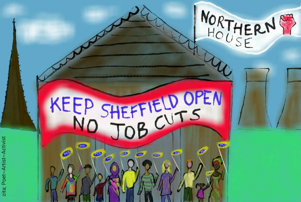 Sketch for a PCS banner 'Keep Sheffield Open'