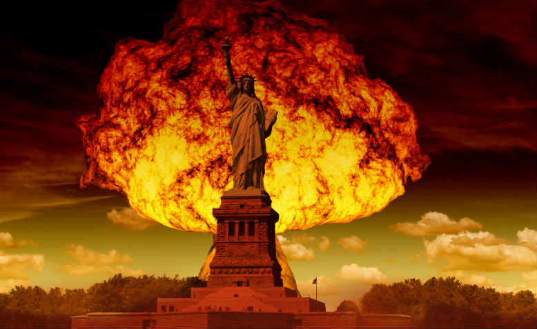 The Statue of Liberty with mushroom cloud