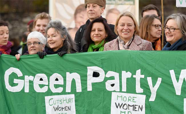 Green Party leader Natalie Bennett with other prominent party members. Picture: EPA