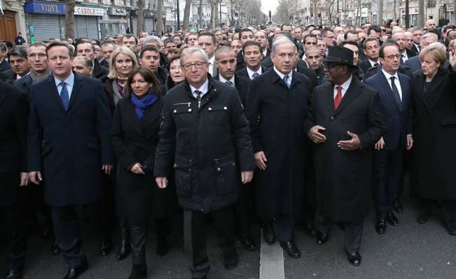 World leaders march in Paris, Sunday, Jan. 11, 2015. AP Photo/Philippe Wojazer, Pool