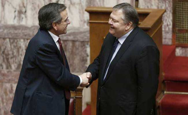 Antonis Samaras and Evangelos Venizelos. Photo: Reuters