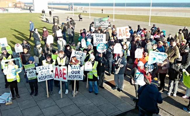 Hundreds in Seaton Carew for the Save Hartlepool Hospital protest walk. Photo: Teesside PA