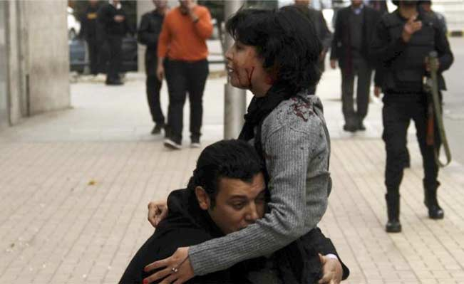 Shaimaa al-Sabbagh died of her injuries shortly after this photo was taken. Photo: Reuters