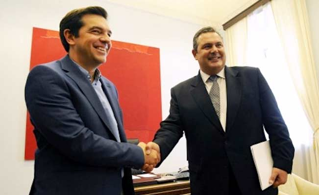 Syriza Party leader Alexis Tsipras and Panos Kammenos of ANEL