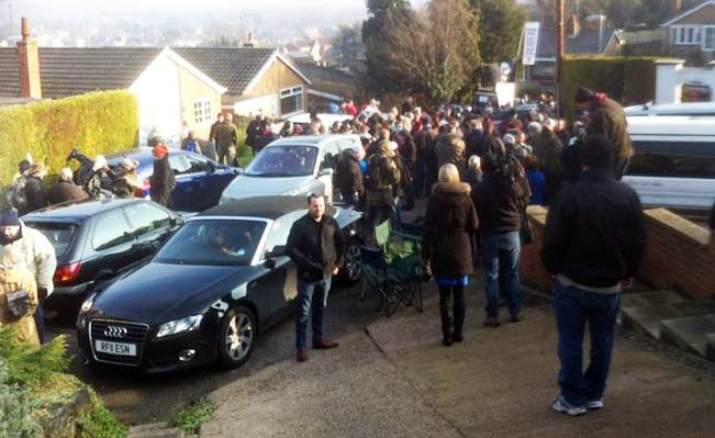 Protestors outside Tom Crawford's home. Photo: Rajiv Popat / ITV News