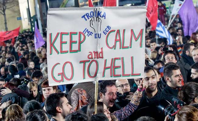 Syriza supporters at a rally outside Athens University Headquarters in Athens. Photo: Milos Bicanski/Getty Images