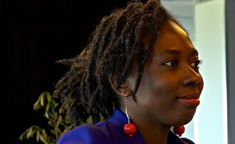 Danielle Obono, France Insoumise MP. Photo: Youtube / France Insoumise 2e circo du Gard