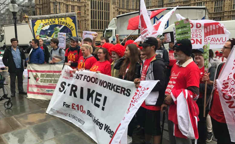 Striking McDonald's Workers rally outside Parliament. Photo: John Rees