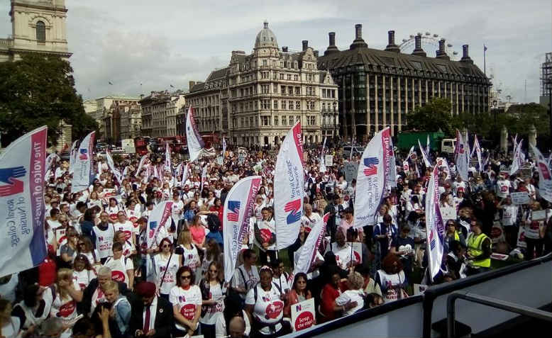 Nurses protesting in Parliament Square. Photo: Danielle Tiplady